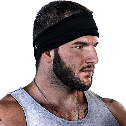 GearTOP Mens Headband Guys Sweatband. Stretch Moisture Wicking, Best Yoga Sports Headbands Men Women. Optimize Your Athletic Performance!