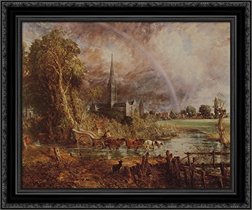 Salisbury Cathedral from The Meadows 24x20 Black Ornate Wood Framed Canvas Art by John Constable (John Constable Salisbury Cathedral From The Meadows)