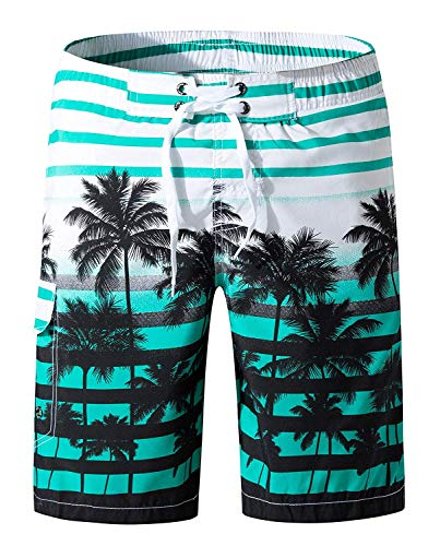 Men's Printing Quick Dry colorful Stripe Coconut Tree Beach Shorts Swim ()