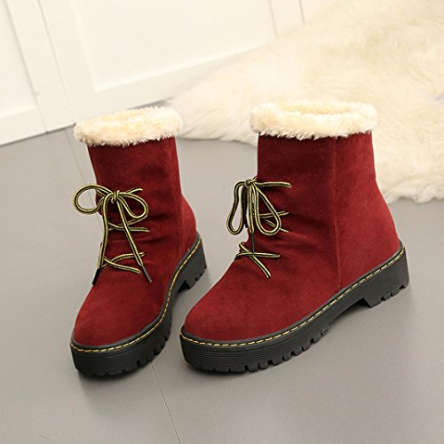 Boots Boots Martin Ankle Winter Red Women Boots Women's Flat Heel Hunpta Boots Snow Fashion wqUxICEza