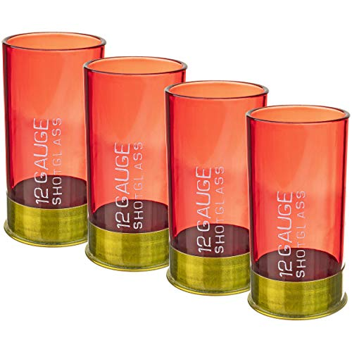 Fairly Odd Novelties FON-10052 12 Gauge Shotgun Shell Shot Glasses Funny Gun Hunting Father's Day Dad Novelty Gift Item, 2 oz, Red]()