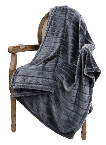 "Price comparison product image Bertte Ultra Velvet Plush Super Soft Decorative Stripe Throw King Size Bed Blanket- 102""x 90"", Dark Grey"