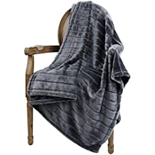 "Bertte Ultra Velvet Plush Super Soft Decorative Stripe Throw Blanket-50""x 60"", Dark Grey"