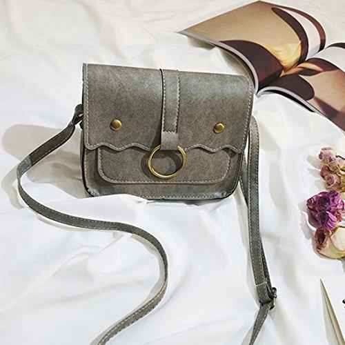 ESAILQ - Bolso mochila  de cuero sintético para mujer gris