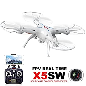 Cheerwing Syma X5SW UAV FPV 2.4Ghz 4CH 6-Axis Gyro RC Qucopter Drone UFO Headless Mode with 0.3MP HD WiFi Camera Support iOS Android RTF(White) 51GNkIsXwJL