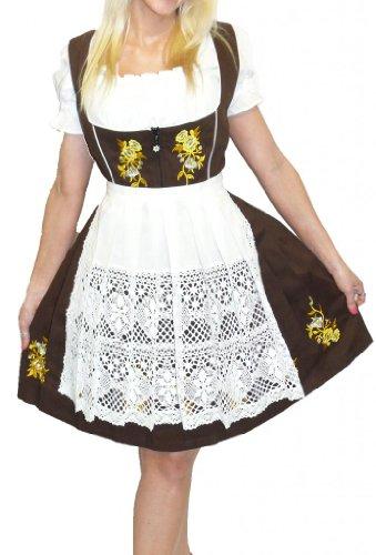 Dirndl Trachten Haus 3-Piece Short German Wear Party Oktoberfest Waitress Dress 16 46 Brown by Dirndl Trachten Haus (Image #3)