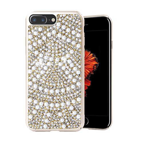 Re iPhone 8 Plus Case iPhone 7 Plus Case Premium Handmade Bling Crystals Diamonds Rhinestones and Pearls Hybrid Protective Cover for iPhone 8 Plus / 7 Plus Gold ...