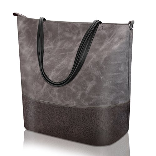 Leather Women Soft Vintage Capacity Women Bag Tote Travel for Shoulder Ladies Large Leather Bag Casual Bag Handbag Grey for vtqxXwtIr