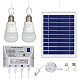 Solar Panel System Lights Kit, Upgraded Portable Home Solar Lights Outdoor Solar Powered Charger with Switch Controller, 2 LED Bulbs, 3 USB Ports for Indoor Outdoor Camping Garage Emergency