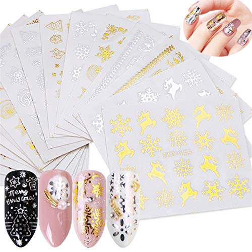Miss Babe 16pcs Gold Silver Nail Sticker Water Snowflake Tree Deer Pattern for Nail Art Decoration Glitter DIY Decals Manicure Set (Deer Nail Decals)