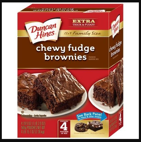 Duncan Hines Chewy Fudge Brownies Premium Brownie Mix Family Size, 19.9 oz, 4 pack