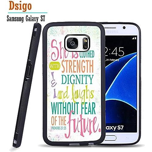 Galaxy S7 Case, Samsung S7 Black Case, Dsigo TPU Black Full Cover Protective Case for New Samsung Galaxy S7 - Colorful PROVERBS 31:25 Sales
