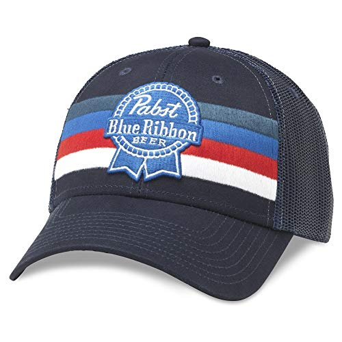 PBR Pabst Blue Ribbon Beer Striped Adjustable Royal Navy Snapback ()