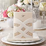 Wishmade 100X Laser Cut Lace Wedding Invitations Cards Kit With White Envelope and Seals CW060