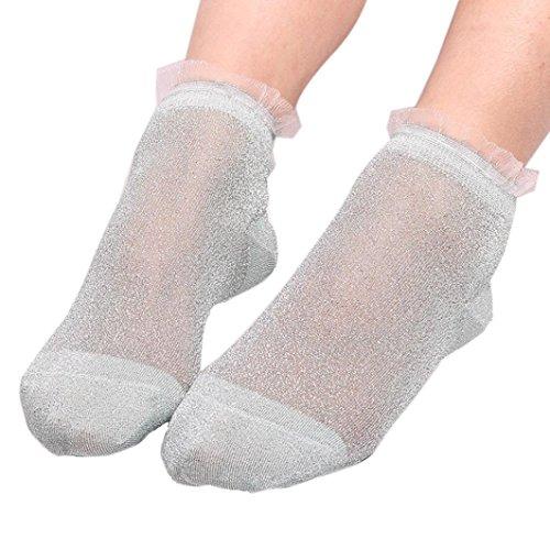 Quartly New Women Fashion Sheer Silky Glitter Design Soft Transparent Sock Transparent Silk Elastic Short Stockings Sheer Ankle Sock (H)