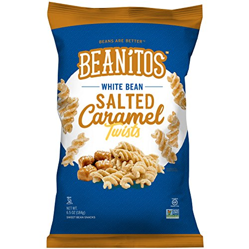 Rice Twists (Beanitos White Bean Salted Caramel Twists, Gluten Free, Non-GMO, Vegetarian, Corn Free, Trans Fat Free, Plant Based Sweet Snack, 6.5 Ounce)