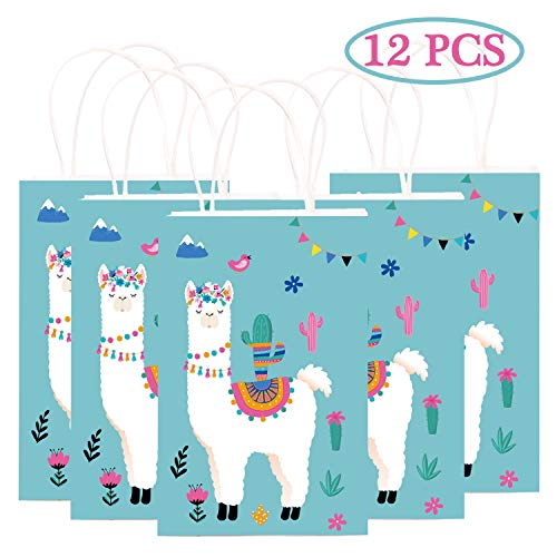 Happy Storm Llama Party Favor Bags Fiesta Cactus Cinco de Mayo Party Supplies Decorations Gift Goodie Treat Bag for Kids Llama Themed Birthday Baby Shower Party (12 PCS) ()