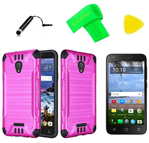Brush Hybrid Cover Phone Case + Screen Protector + Extreme Band + Stylus Pen + Pry Tool For Alcatel Raven LTE A574BL (Brush Pink Black)