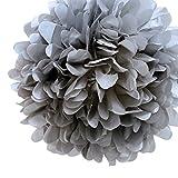 Quasimoon PaperLanternStore.com EZ-FLUFF 16'' Charcoal Gray Tissue Paper Pom Poms Flowers Balls, Decorations (4 Pack) by