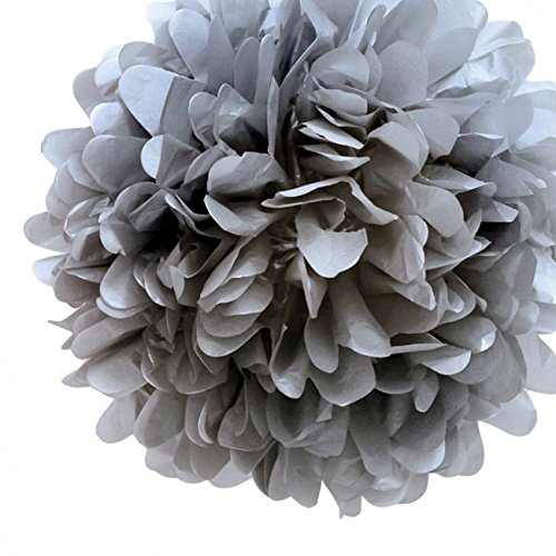 Best Charcoal Paper (Quasimoon PaperLanternStore.com EZ-FLUFF 12'' Charcoal Gray Tissue Paper Pom Poms Flowers Balls, Decorations (4 Pack) by)