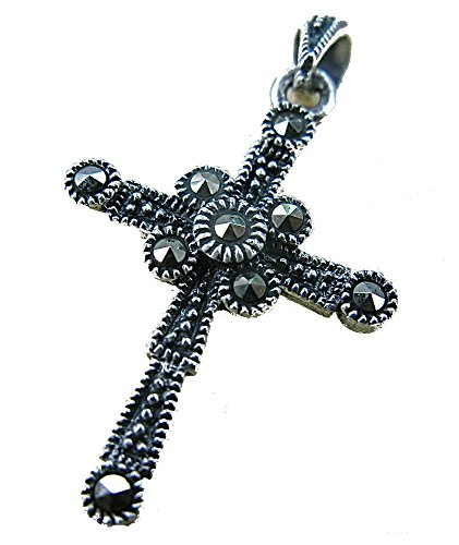 FaithOwl Cross Marcasite 925 Sterling Siliver Pendant (Pendant without (Marcasite Chain)