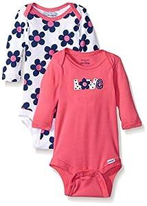 Gerber Baby Girls' 2 Pack Long-Sleeve Variety Onesies