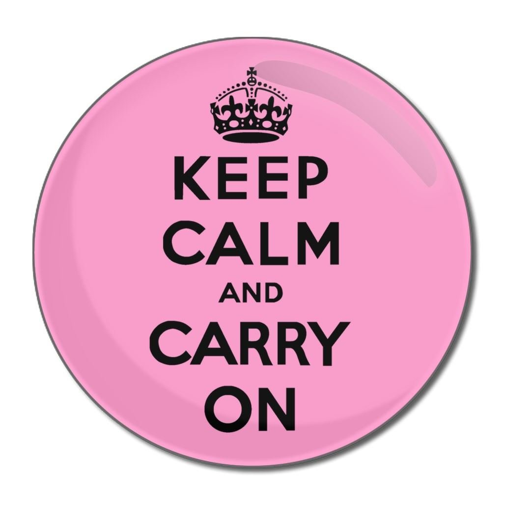 Pink Keep Calm and Carry On - 55mm Round Compact Mirror BadgeBeast.co.uk 55mir-calm-pink