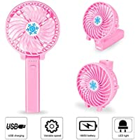 Portable 180°Folding Handheld Fan, 3 Speeds USB Rechargeable Battery for Cooling Fan, Small Desktop Fan with LED Emergency Light for Adolescent, Women and Child (Light pink)