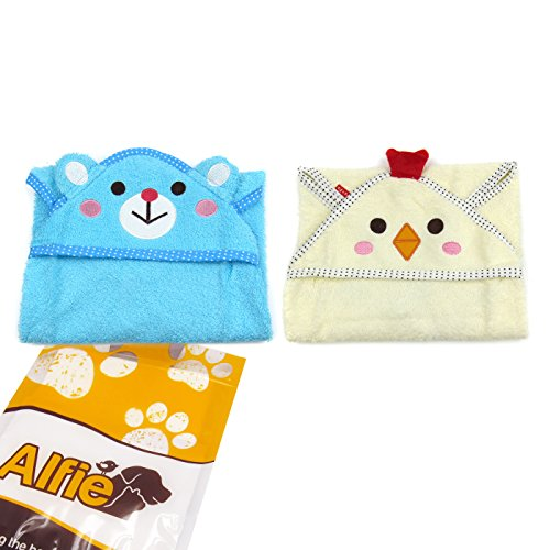 Alfie Pet by Petoga Couture - Kate Hooded Bath Towel 2-Piece Set for Small Dogs and Cats - Color: White and Blue, Size: S by Alfie