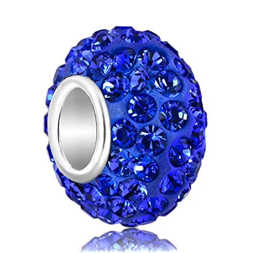 (CharmsStory Sterling Silver Blue Simulated Birthstone Synthetic Crystal Charms Beads Charms For Bracelets)