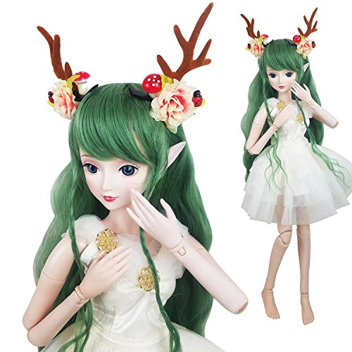 (Green Deer 1/3 BJD Doll Spirit Demon Girl 24inch 60cm 19 Ball Jointed Dolls Baby Doll Toy Gift)