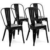 Best Choice Products Set of 4 Industrial Metal Dining Side Chairs (Black)