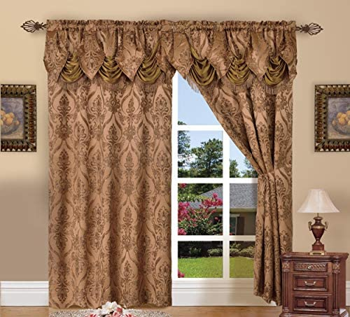 Elegant Comfort Penelopie Jacquard Look Curtain Panel Set