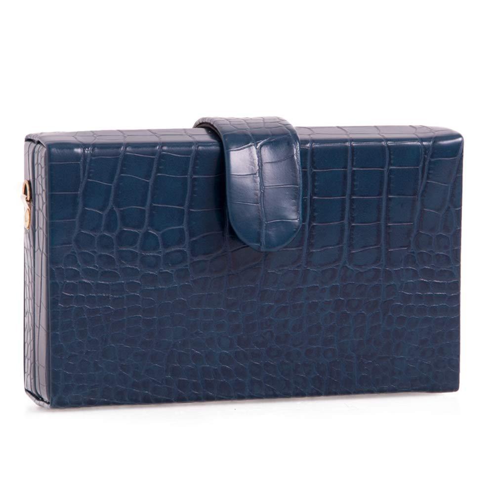 Craze London kvinnors hårt fodral kuvertväska damläder look handväska aftonväska för bal bröllop cocktailparty Style 2: Navy