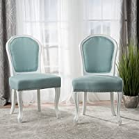 Gorgas Light Blue Fabric Dining Chair (Set of 2)