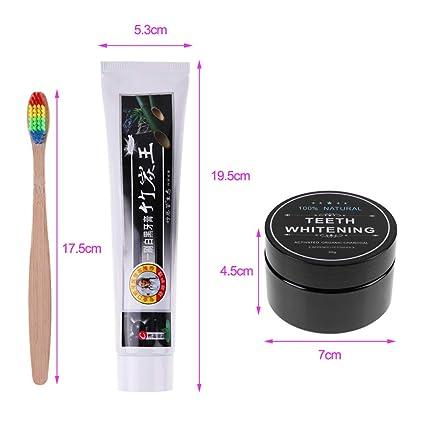 Gowind6 - Juego de cepillos de dientes de carbón activado para blanqueamiento en polvo, pasta