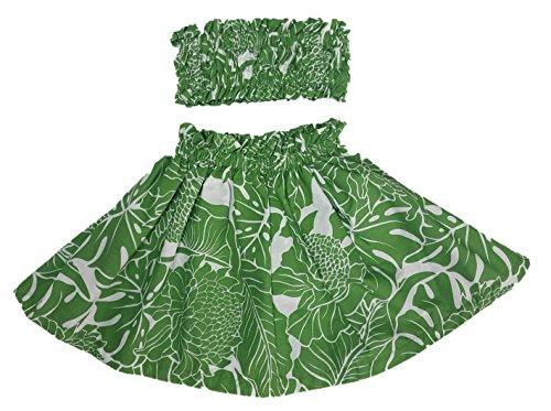 Hula Girl Outfit Costume Hawaiian Polynesian Print (2T-3T, Green (Hawaiian Hula Outfits)