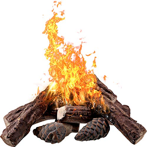 10 Pieces Ceramic Fiber Wood Medium Gas Fireplace Logs for Most Types of Indoor, Gas Insert, Ventless, Propane, Gel, Ethanol, Electric, or Outdoor Fireplaces and Fire Pits, Clean Burning Accessories (Insert Gel Ventless Fireplace)