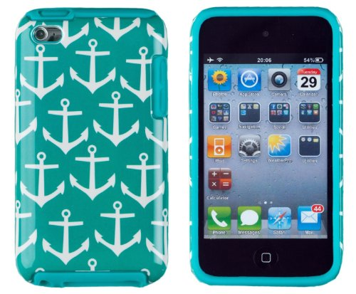 DandyCase 2in1 Hybrid High Impact Hard Nautical Anchor Pattern + Teal Silicone Case Case Cover For Apple iPod Touch 4 4G (4th generation) + DandyCase Screen Cleaner
