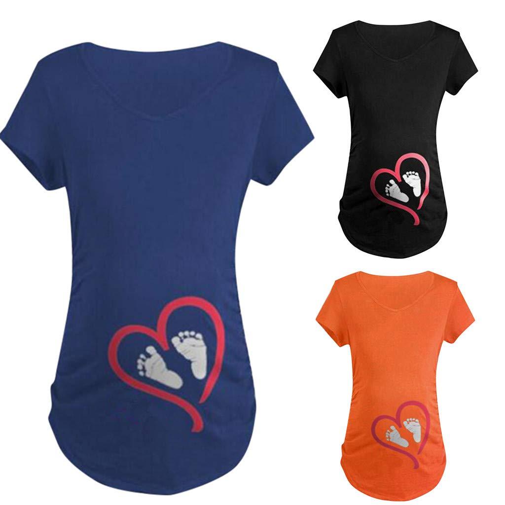 Ulanda-EU Umstandstop Sommer T-Shirt,Damen Umstandsmode Umstandsshirt Tank Top Kurzarm Oberteile Frauen Stillen Kleidung Nursing Tops tStillshirt Schwanger T-Shirt