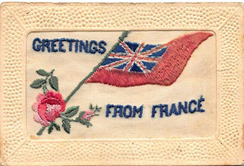 Silk Postcard British Flag Greetings From France~120895