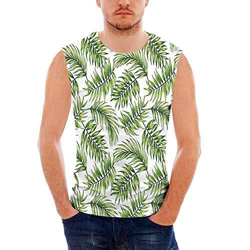 Leaf Mens Comfort Cotton Tank Top,Tropic Exotic Island Jungle Beach Tree Branch