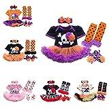 FYMNSI Baby Girls My 1st Halloween Costume Outfits Flower Romper Dress Headband Shoes Leg Warmers