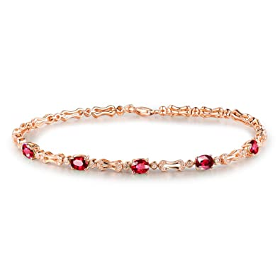 75b0fa73fcf Image Unavailable. Image not available for. Color  Lanmi 14K Solid Rose  Gold Women s Natural Ruby Diamond ...
