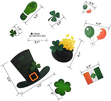 Cualfec St Patricks Day Window Cling Set Shamrock Leprechaun Irish Mood Window Decals 8 Sheets 114 Pcs