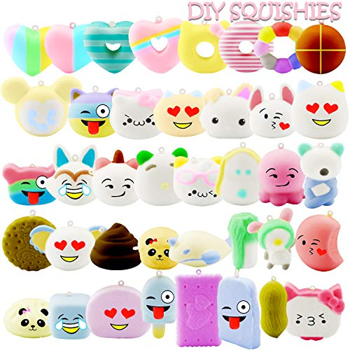 R HORSE DIY Blank Squishy Toys Set Kawaii Cute Cream Scented Squishies Slow Rising Decompression Stress Relief Squeeze Toys for Kids (40 Pack)