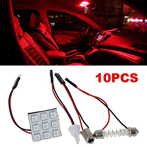 Partsam 10pcs Universal Fit Ultra Red LED Panel Lights Kit for Car Interior Map Dome Trunk Lamp Bulbs + T10 Ba9s Festoon Adapters 12V (Trunk Panel Kit)