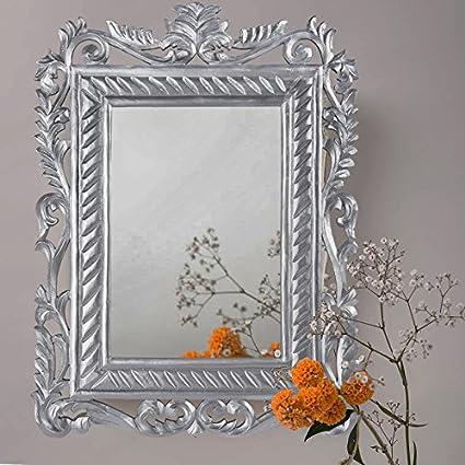 Homesake French Carved Royal Vintage Decorative Wooden Wall Mirror, Elegant Antique Silver
