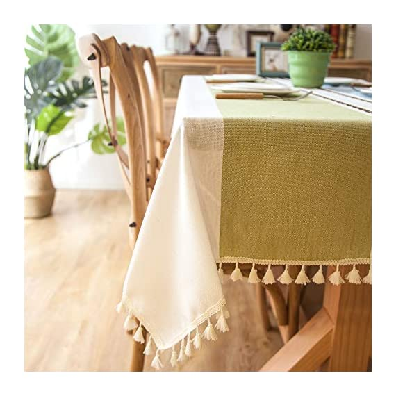 """Enova Home Elegant Rectangular Thicken Cotton and Linen Tablecloth with Tassels Dust Proof Table Cover for Kitchen Dinning Tabletop Decoration (Turquoise and Light Blue, 54""""x 78"""") - Composition: 90% Cotton 10% Linen Handmade/Hand-dyed by local skilled artisan in the middle of China Size:Approximately 54"""" x 78"""" Rectangle (140cm x 200cm) - tablecloths, kitchen-dining-room-table-linens, kitchen-dining-room - 51GNpqEx%2BYL. SS570  -"""