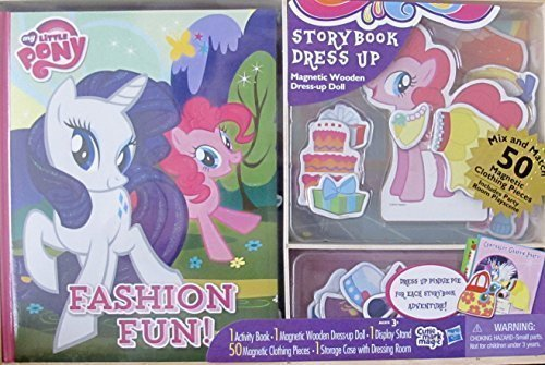 (My Little Pony Hasbro Activity Storybook & Dress Up Magnetic Wooden Pinkie Pie Pony Doll, Story Book, Magnetic Wooden Dress Up Pinkie Pie Pony, 50 Magnetic Clothing Pieces & Storage)